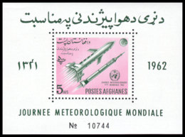 Afghanistan, 1962, World Meteorological Day, WMO, OMM, United Nations, Space, Rocket, MNH, Michel Block 38 - Afghanistan