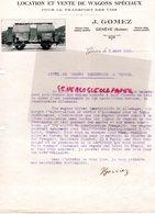 SUISSE - GENEVE- RARE LETTRE J. GOMEZ-LOCATION VENTE WAGONS SPECIAUX TRANSPORT VINS-1920 - Switzerland
