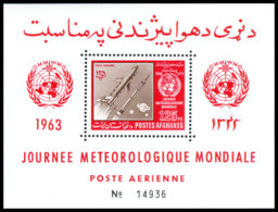 Afghanistan, 1962, World Meteorological Day, WMO, OMM, United Nations, Space, Rocket, MNH, Michel Block 42A - Afghanistan
