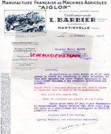 88- MARTINVELLE- RARE LETTRE L. BARBIER-MANUFACTURE FRANCAISE MACHINES AGRICOLES-AIGLON-AGRICULTURE-JANNEL FRERES-1941 - Agriculture