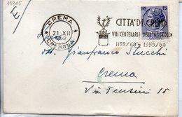 1959 Annullo Meccanico A Targhetta CITTA DI CREMA VIII Cent. Assrdio - 6. 1946-.. Repubblica