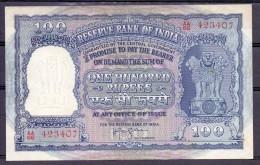 India 100 Rupie  P43 C  Au Rare   AU Condition - Inde