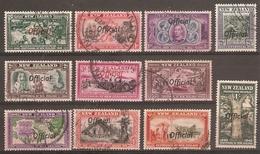 NEW ZEALAND 1940 CENTENNIAL OFFICIALS SET SG O141/O151 FINE USED Cat £26 - Officials