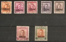 NEW ZEALAND 1947 - 1951 OFFICIALS SET SG O152/O158 FINE USED Cat £32 - Officials