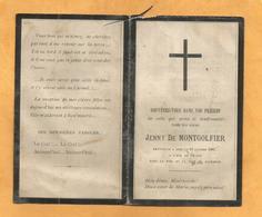 CARTE MEMOIRE  MORTUAIRE GENEALOGIE FAIRE PART DECES JENNY JEANNE DE MONTGOLFIER SAINT MARCEL LES ANNONAY 1821 1886 - Décès