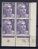 FRANCE ( COIN DATE ) : Y&T N° 883  DU  16/04/51  TIMBRES  NEUFS  SANS  TRACE  DE  CHARNIERE . - Coins Datés
