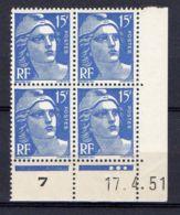 FRANCE ( COIN DATE ) : Y&T N° 886  DU  17/04/51  TIMBRES  NEUFS  SANS  TRACE  DE  CHARNIERE . - Coins Datés