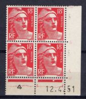FRANCE ( COIN DATE ) : Y&T N° 887  DU  12/04/51  TIMBRES  NEUFS  SANS  TRACE  DE  CHARNIERE . - Coins Datés
