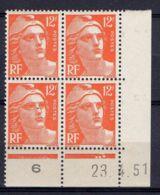 FRANCE ( COIN DATE ) : Y&T N° 885  DU  23/04/51  TIMBRES  NEUFS  SANS  TRACE  DE  CHARNIERE . - Coins Datés