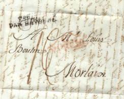 """Carthagène Pour Morlaix 1808 Linéaire """"Espagne Par Bayonne """" - Marcophilie (Lettres)"""