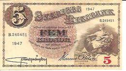 Sweden  5 Kronor  1947 - Suède