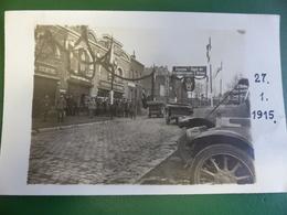 RARE CARTE PHOTO GARAGE DESHAYES FRERES ET COURTOIS SOUS OCCUPATION ALLEMANDE EN 1915 - Avesnes Sur Helpe