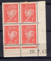 FRANCE ( COIN DATE ) : Y&T N°  514  DU  20/07/43  TIMBRES  NEUFS  SANS  TRACE  DE  CHARNIERE . - 1940-1949