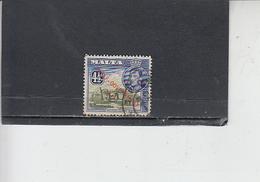 MALTA  1953 - Unificato  233 - Giorgio VI - Soprastampato - Malta