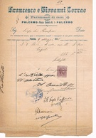 B3254- Palermo, Fattura Ditta Francesco E Giovanni Corrao, Costruttori Di Carri 1905 - Italia