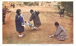 POSTAL   JAPON  -PLAYING CHILD FLAY A KITE - Japón