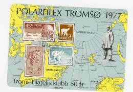 Norvège-1977-Polarfilex-Oblitération Ours-feuillet Souvenir - Philatélie Polaire