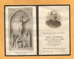 CARTE MEMOIRE MORTUAIRE GENEALOGIE FAIRE PART DECES JARROSSON JOSEPH 1871 1918 COINSEILLER GENERAL LOIRE LYON - Décès