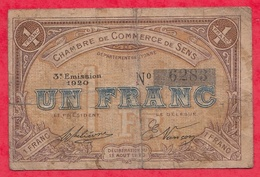 1 Franc  Chambre De Commerce De Sens Dans L 'état (166) - Chambre De Commerce