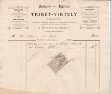 21 POUILLY En Auxois FACTURE 1888 Horlogerie Bijouterie TRIBET VIRTELY  - X20 Côte D' Or C/ ARNAY LE DUC - France