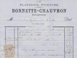 21 POUILLY En Auxois FACTURE 1888  Platreir Epeinture BORNETTE CHAUVRON - X20 Côte D' Or C/ ARNAY LE DUC - France
