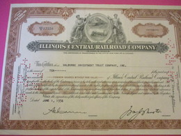 Shares/Illinois Central  Railway Company/ Continental Illinois NationalBank Company/State Of Illinois /USA/ 1954  ACT180 - Chemin De Fer & Tramway