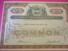 Shares/Illinois Central  Railway Company/ Continental Illinois NationalBank Company/State Of Illinois /USA/ 1954  ACT180 - Railway & Tramway