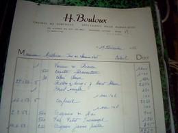 Facture Annee 1952 H.bouloux Graines De Semences Maisons Alfort Fiscal De 28 Francs - Petits Métiers