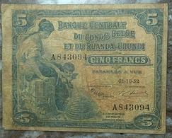 Congo Belge 5 Francs 1952 - [ 5] Congo Belga