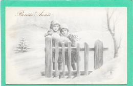 Cpa Deux Petites Filles à La Barrière De Bois, Style Viennoise - Illustration - Scènes & Paysages