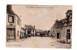 CPA 72 - Semur En Vallon ( Sarthe ) Place De L'eglise , Hôtel Pineau - Autres Communes