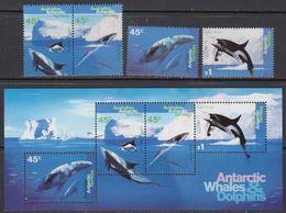 AAT 1995 Whales & Dolphins 4v.+ M/s ** Mnh (41819) - Australisch Antarctisch Territorium (AAT)
