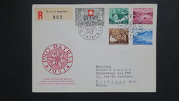 Lettre Recommandé FDC Pro Patria 1953 Zumstein N° 61 A 65  Le 1 VI 1953 Pour Maubeuge Jour D' Emission - FDC