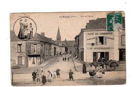 CPA 72 - La Bazoge ( Sarthe ) Rue De L'eglise, Café Du Commerce , Belle Animation - Otros Municipios