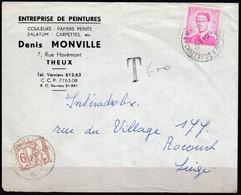 1067 Met Stempel Theux Op Brief (taxe) - 1953-1972 Lunettes