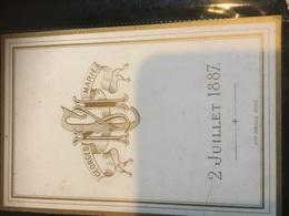 Menu Ancien 1887 Imp Mons Double Page à Voir - Menus