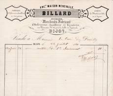 21 DIJON FACTURE 1861  Fabrique D' Orfèvrerie  Joaillerie BILLARD Anc. MENEVALLE  X21 Côte D' Or - 1800 – 1899