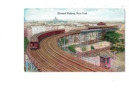 Cpa - New York - Elevated Railway - Train Suspendu échafaudage - - Transports