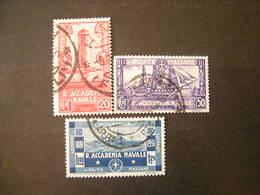 SVENDITA 1931 - ACCADEMIA NAVALE , Serie Compl Usata, 3 Val. TTB,  OCCASIONE - 1900-44 Vittorio Emanuele III