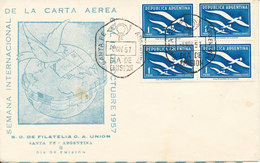 Argentina FDC 6-11-1957 Block Of 4 With Cachet International Letter Writing Week (a Little Brown Stain In The Cachet) - FDC
