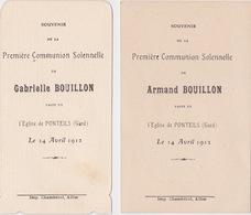 Lot GABRIELLE Et ARMAND BOUILLON PONTEILS 1912 Faire Part Communion. Bouasse, Desgodets. - Communion