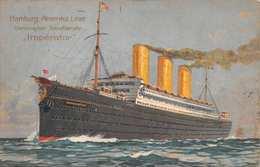 HAMBURG AMERIKA LINE STEAMSHIP IMPERATOR-AN BORD VIERSCHRAUBEN SCHNELLDAMPHERS 1913 POSTCARD 38977 - Paquebots
