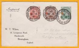 1918 - CP Sainte Adresse, France Vers Birmingham, Angleterre, GB Gouvernement En Exil - Affrt  1 + 2 + 5 C Croix Rouge - 1918 Rotes Kreuz