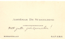Visitekaartje - Carte Visite - Gemeentesecretaris Adhemar De Surgeloose - Gavere - Cartes De Visite