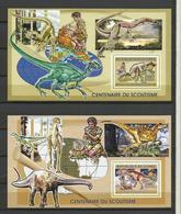 Guinée YT **BF 337/38 DINOSAURES Centenaire Scoutisme Scout Baden Powell - Postzegels