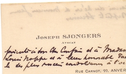 Visitekaartje - Carte Visite - Avocat Joseph Sjongers - Anvers Antwerpen - Cartoncini Da Visita