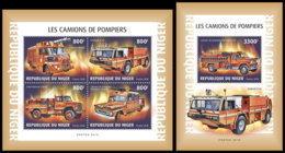 NIGER 2018 **MNH Fire Engines Feuerwehr Fahrzeuge Camions De Pompiers M/S+S/S - OFFICIAL ISSUE - DH1901 - Sapeurs-Pompiers