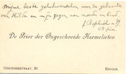 Visitekaartje - Carte Visite - Prior Der Ongeschoeide Karmelieten - Brugge - Cartes De Visite