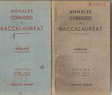 2 Livres Annales Corrigées Du Baccalauréat Anglais Année 1950-51 Et Année 1951-52 - Livres, BD, Revues