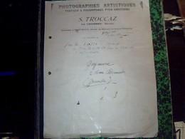 Facture Photographies Artistiques Travaux Et Fournitures Pour Amateurs S.Troccaz A La Chambre Savoie Annèe 1920 - Francia